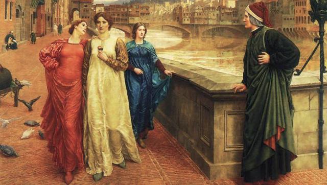 Henry Holiday, Dante Alighieri meeting Beatrice Portinari along the river Arno, detail