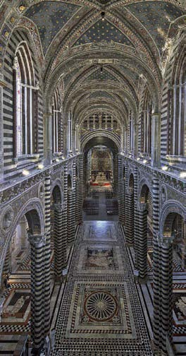 Cathedral of Siena - view of central nave from upper walkway