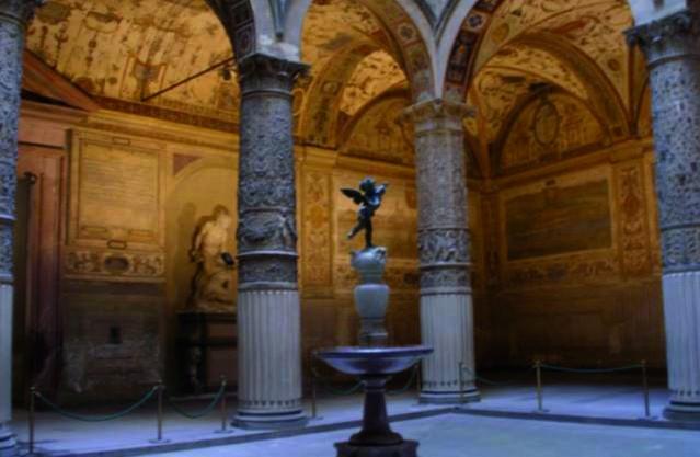 Michelozzo's Courtyard, Putto with Dolphin by Verrocchio in Palazzo Vecchio