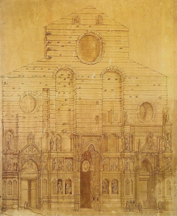 Bernardino Poccetti, Drawing of Facade of Florence Cathedral, 1587