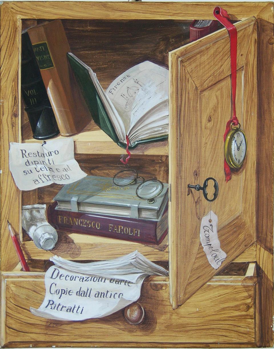 Lo stipo dell'artista,  dipinto originale a trompe l'oeil,  acrilico su tela,  cm 40 x50 (2000)
