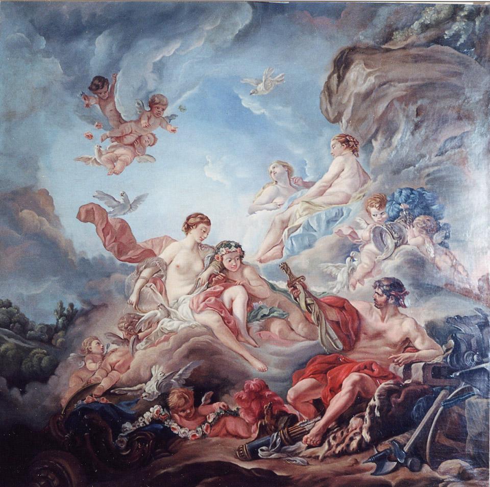 Copia da Boucher, Vulcano porge le armi a Venere, olio su tela cm 90 x 90 (realizzato nel 2001)