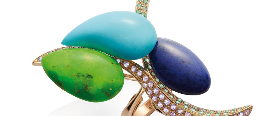 Canto 2014, anello, oro rosa, turchese, lapislazzuli, ametista e smeraldo
