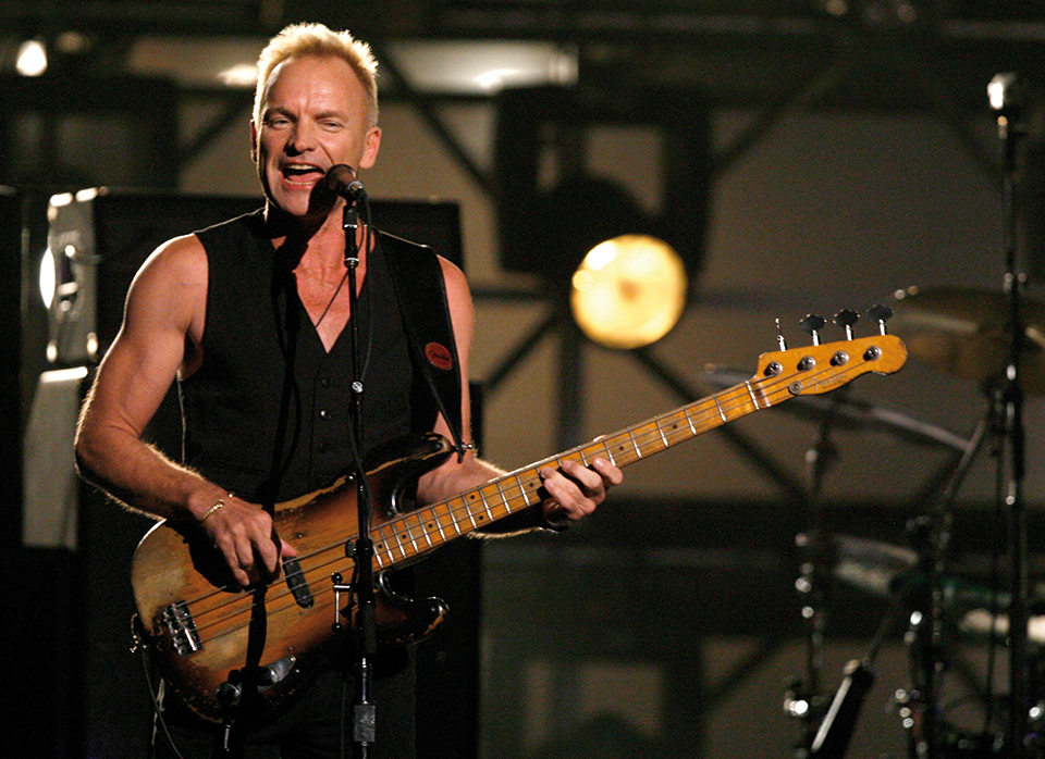 "LOS ANGELES, CA - FEBRUARY 11: Musician Sting performs ""Roxanne"" onstage with the band The Police opening the 49th Annual Grammy Awards at the Staples Center on February 11, 2007 in Los Angeles, California. (Photo by Kevin Winter/Getty Images)"